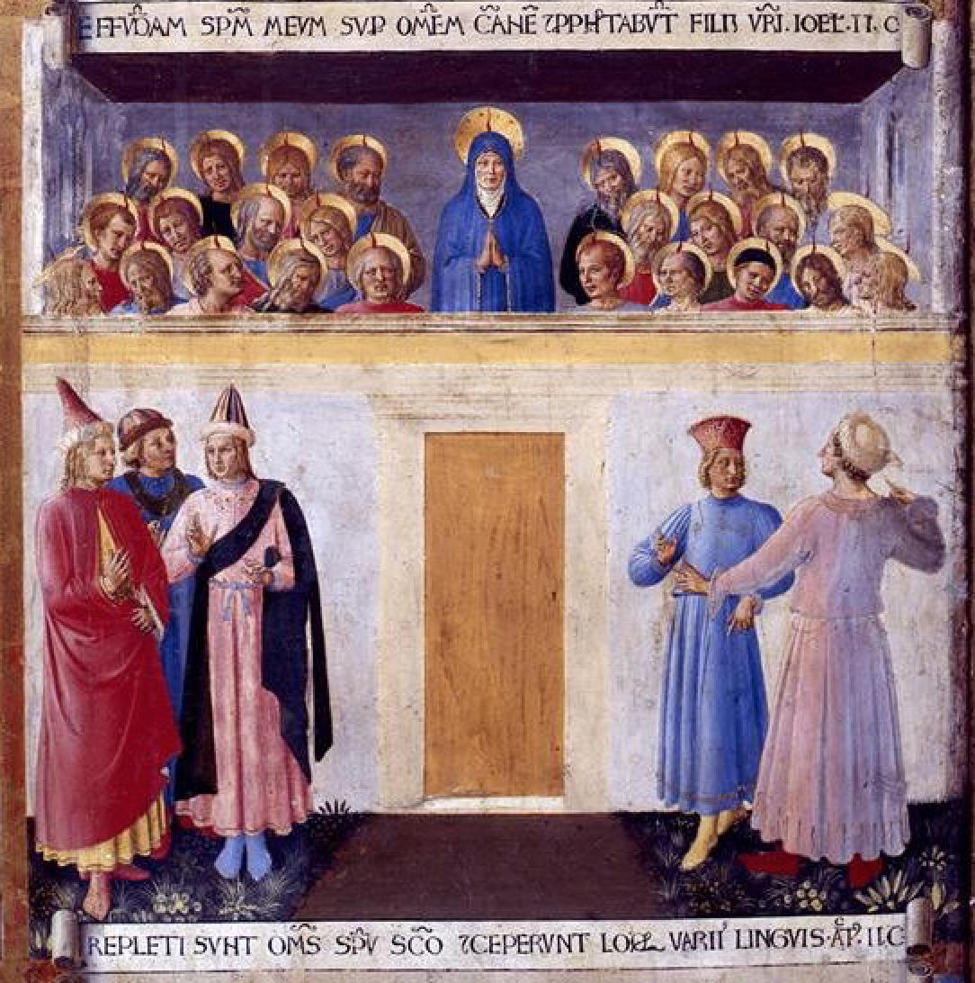 Beato Angelico, Pentecoste, Particolare degli Armadi degli Argenti, 1451-53, Firenze.